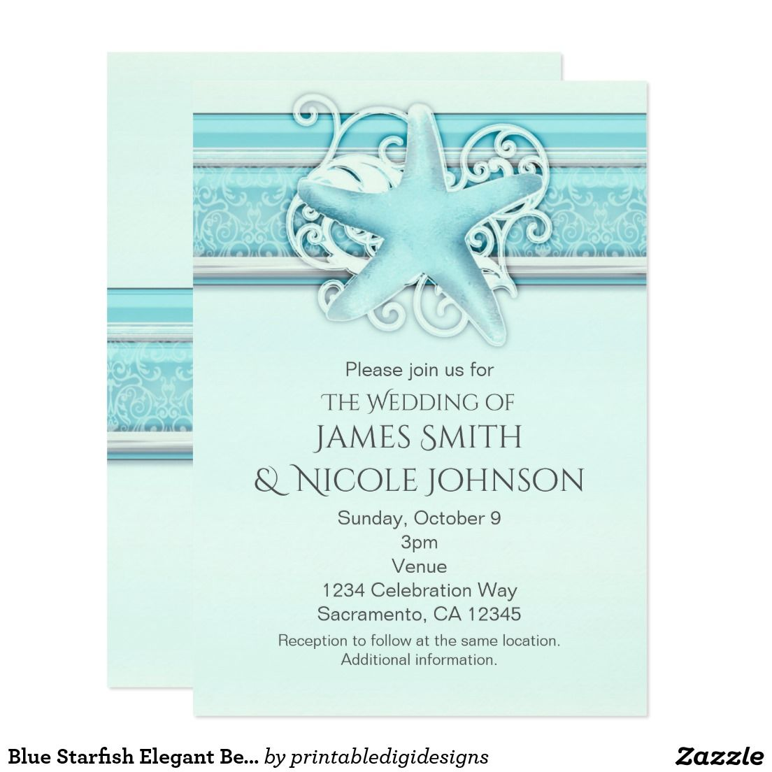 Blue Starfish Elegant Beach Themed Invitations | Sweet 16 ...