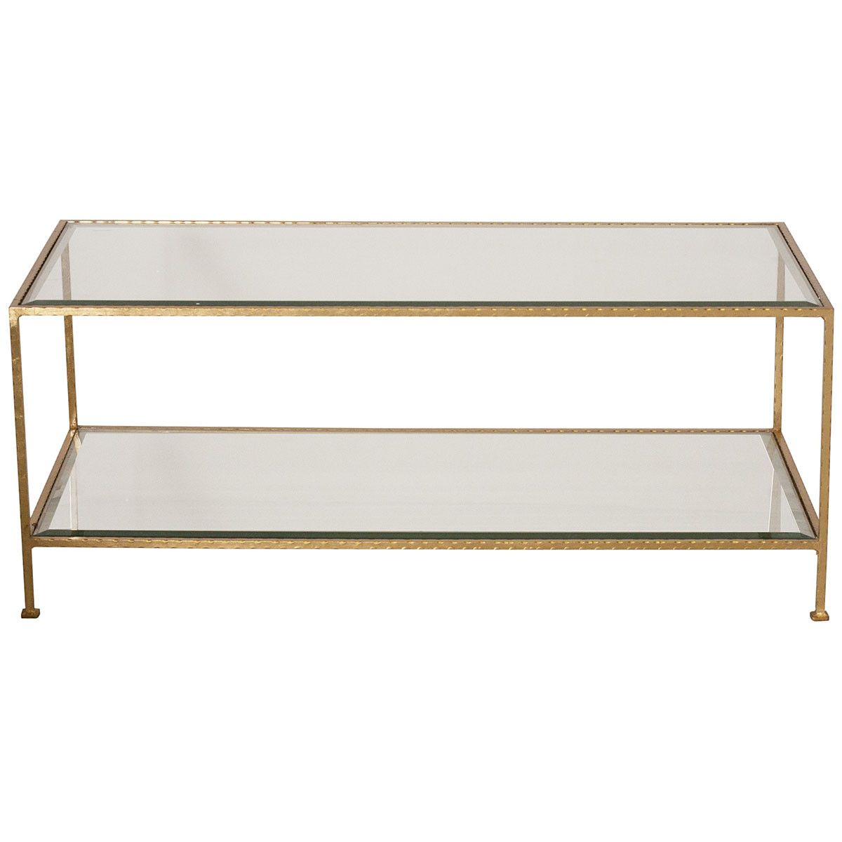 Worlds Away Hammered Rectangular Coffee Table Gold