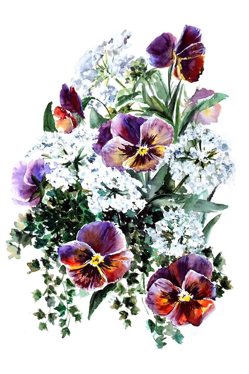 Astro Flowers for Capricorn Watercolor flowers paintings