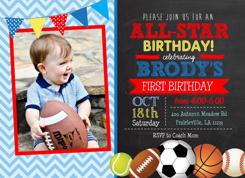 Chalk All-star Sports Birthday Printable Invitation, Sports birthday ...