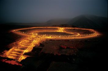 Caral, the first city in the New World, in Peru. This amphitheater was built 4600 years ago. http://www.smithsonianmag.com/multimedia/photos/?c=y=10008971=1=ipad