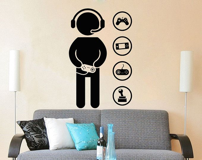 Game controller gamer wall decal game zone wall decals for Decoracion gamer