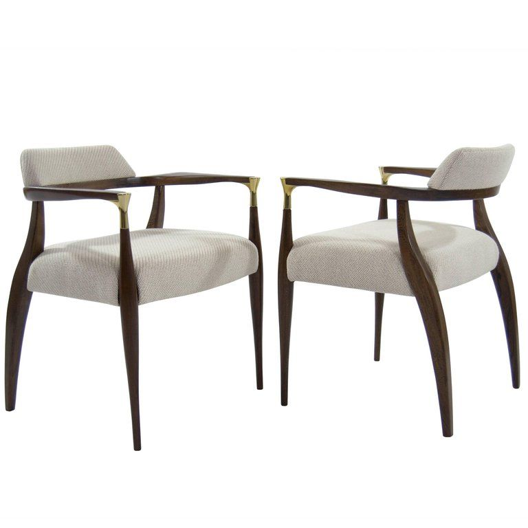 Modern BrassAccented Walnut Armchairs is part of Furniture - For Sale on 1stdibs  A rare pair of Scandinavian modern armchairs in the style of Ib KofodLarsen, Denmark, circa 1950s  This set features newly polished brass armtip details