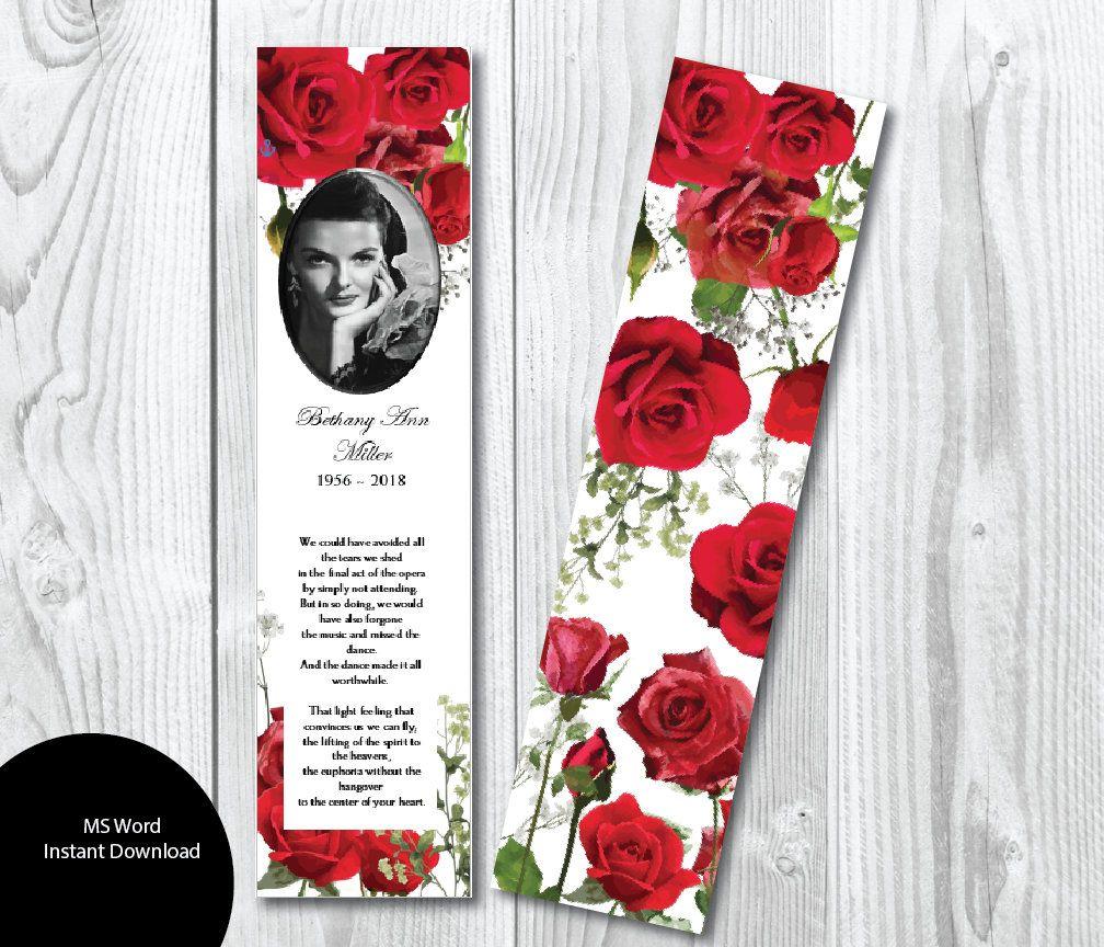 Diy Red Roses Butterflies Funeral Bookmark Template Etsy Bookmark Template Bookmarks Printable Memorial Keepsakes
