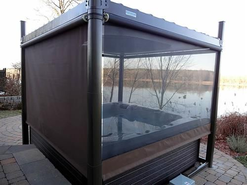 hot tub privacy enclosures calais spas and billiards. Black Bedroom Furniture Sets. Home Design Ideas