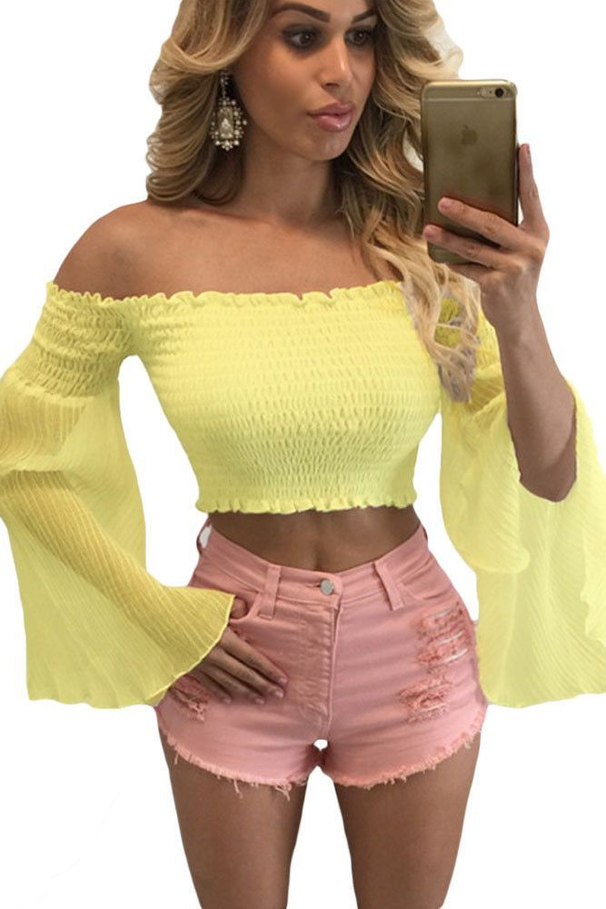 Yellow Bell Sleeve Off Shoulder Crop Top   Products   Pinterest ... e081d0bb6640