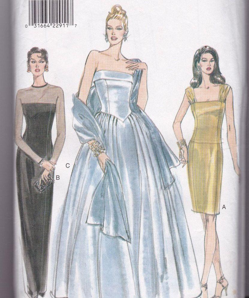 Long dress pattern for women full skirt or straight dress strapless