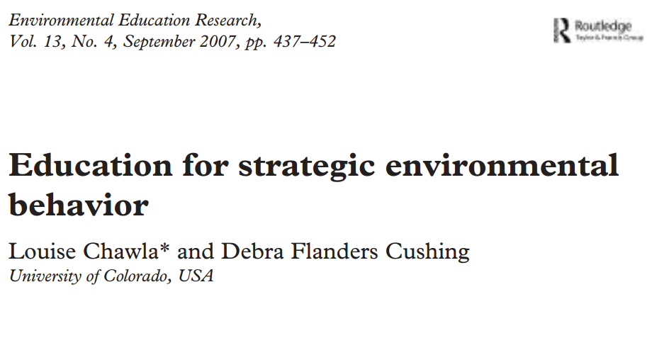 Great lit review including that gender, socioeconomic status, and environmental knowledge determine environmental action (although note that the cited reports were self-reported data). Also cites evidence that extended programs that involve a hands-on component are more likely to lead to change and that group projects on environmental issues are less overwhelming for students because it seems more likely to make a difference.