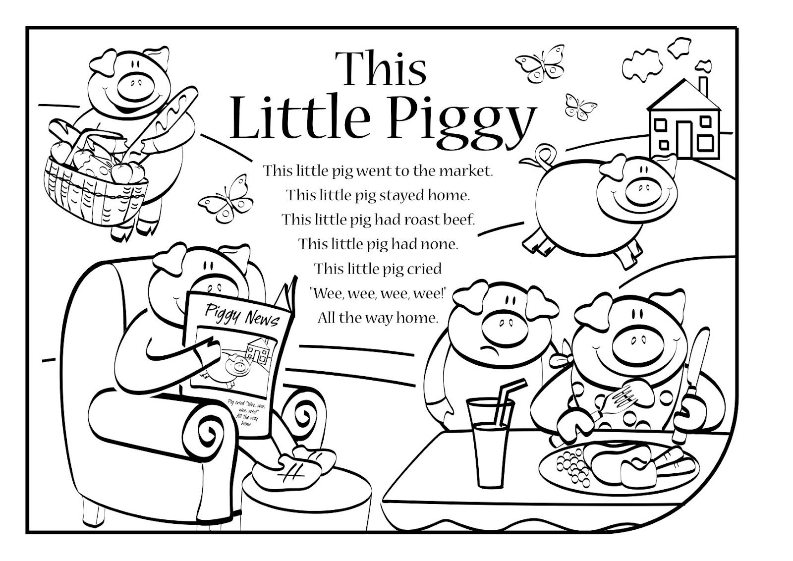 Image result for this little piggy coloring pages