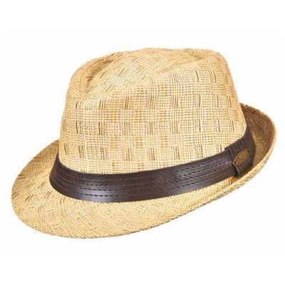 Panama Jack Men s Toyo Fedora With Faux Leather Hat (Natural Medium ... 15b7a8f4ad7
