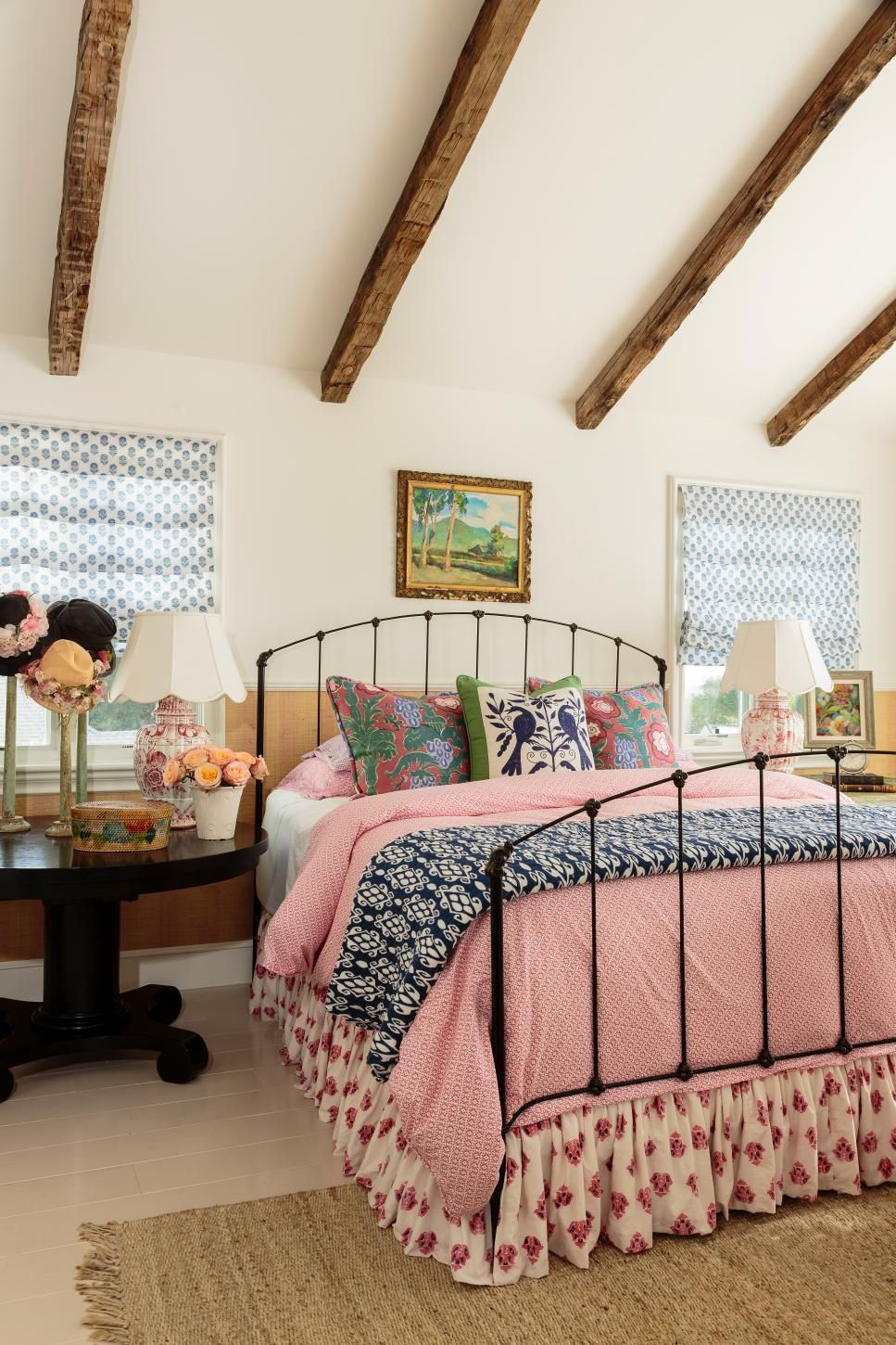 Hgtv This Country Style House Has Modern Day Style Thanks To Designer Alison Kandler S Use Of Bold Patter Vintage Bedroom Decor Pink Bedspread Bedroom Vintage