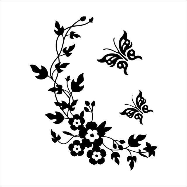 3D Flowers And Vine Butterfly Wall Sticker