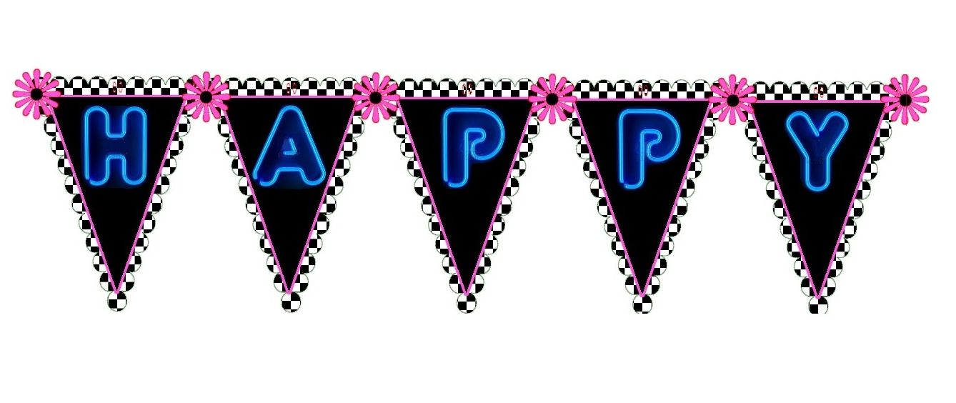 50's Diner Theme Party: Bunting/Banner Happy Birthday.