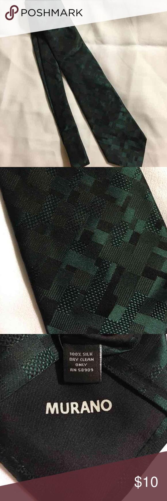 Murano 100% Silk Men's Tie. Deep green color. EUC. 100% Silk. No rips,stains, etc. Murano Accessories Ties