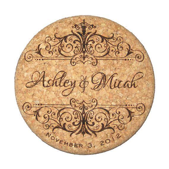 Wedding Cork Coaster: Wedding Cork Coaster Set, Personalized Vintage Style