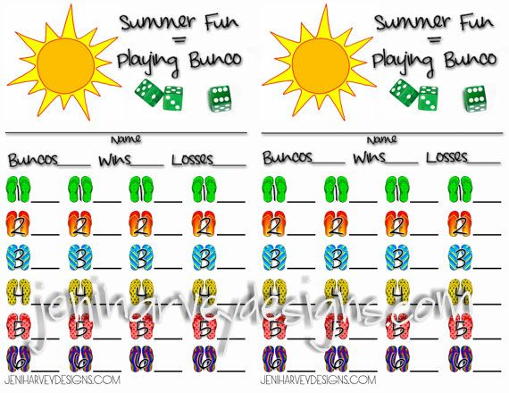 Summer Bunco Score Sheet  Via Etsy  Bunco