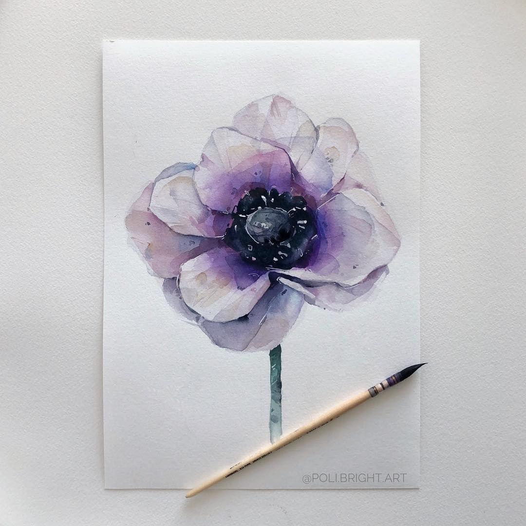 Anemone Flower Art Painting Purple Flower Tattoos Floral Watercolor