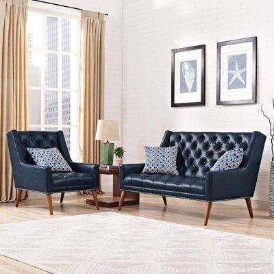 Set Of 2 Peruse Living Room Set Faux Leather Blue Modway Living Room Sets Elegant Home Decor Room Set