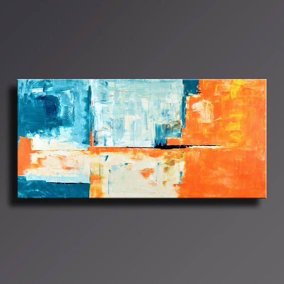 75 Large Abstract Painting Teal Orange White Turquoise Cream Painting Original Canvas Art Extra Large Modern Painting Xl Wall Decor 55ci2 Original Canvas Art Abstract Painting Large Abstract Painting