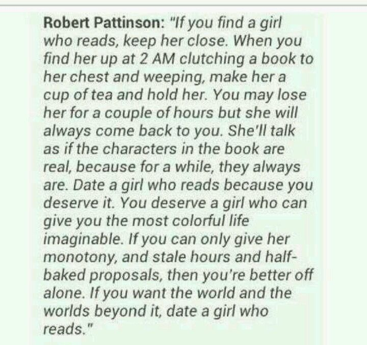 Robert Pattinson :) What's funny is the other night I was up at one crying because a guy died in my book!!! lol