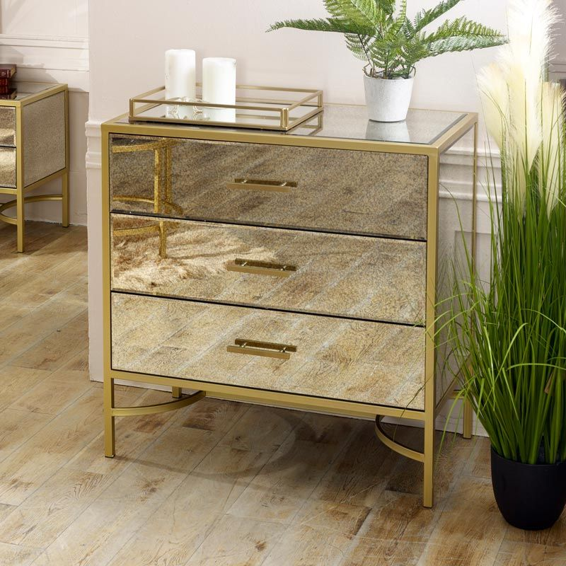 Large Gold Mirrored Chest Of Drawers Cleopatra Range Mirror