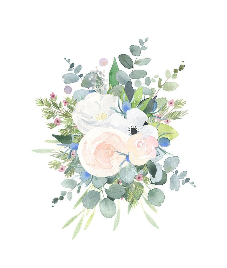 Floral Bouquet Clipart Watercolor Clip Art Flower Png Files With White Roses Thistles And Eucalyptus Leaves Watercolor Flowers Watercolor Floral Print Floral Watercolor