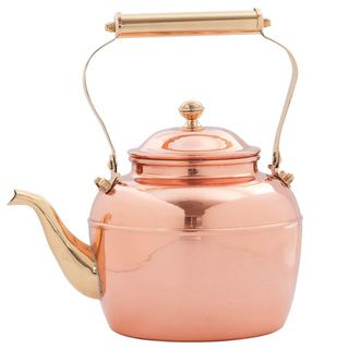 2 5 Quart Solid Copper Tea Kettle With Brass Handle Teapots And