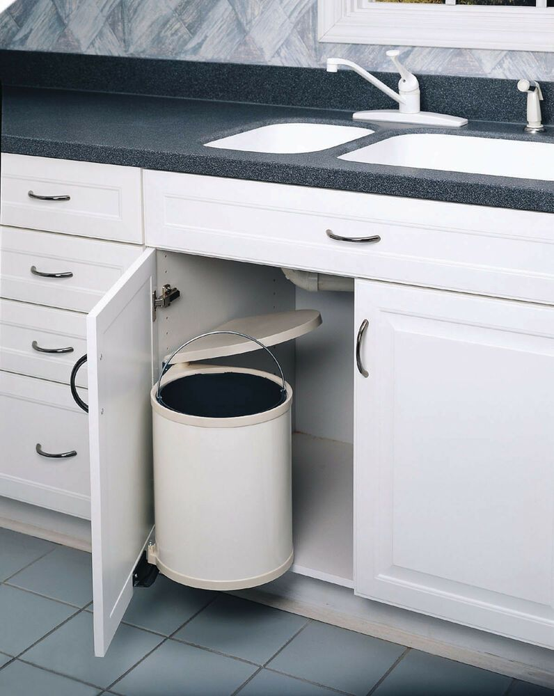 Cabinet Pull Out Trash Can With Lid Tall 13 5 Under Kitchen Sink