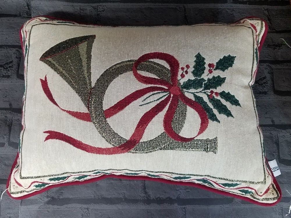 French Horn Holly Tapestry Pillow Riverdale Decorative Holiday Decor