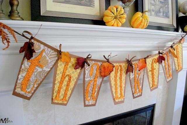 Fall decorating thankful banner