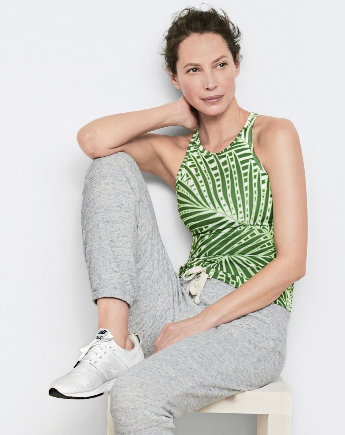 a6b2a39f5da74 New Balance® for J.Crew racerback tank top with built-in sports bra in palm  print