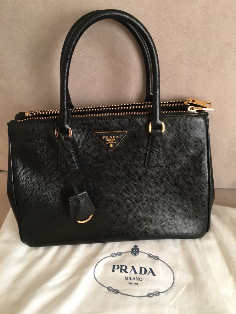 Authentic Prada Saffiano Small Lux Galleria Double-Zip Tote Bag ... 709f91f70a13a