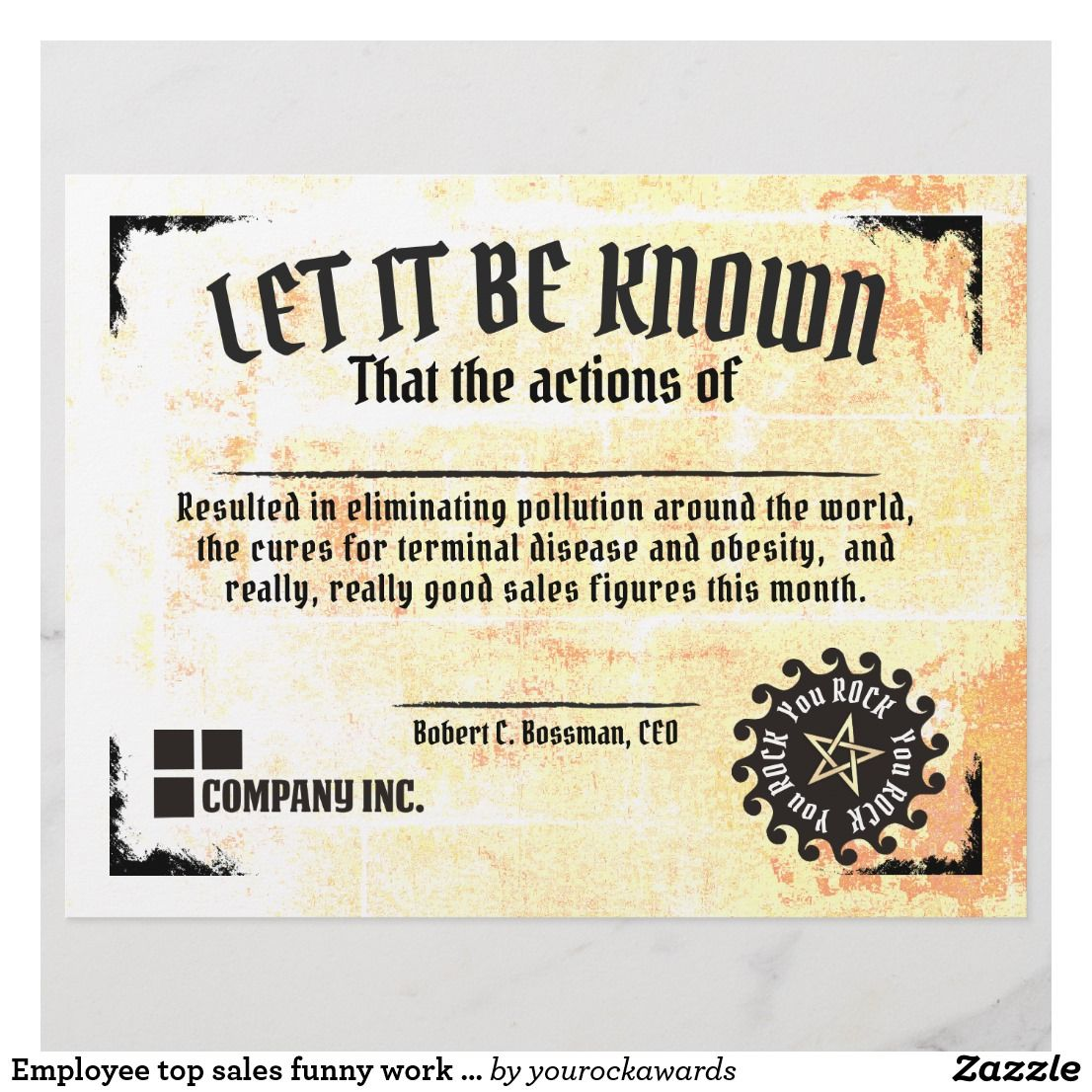 Employee Top Sales Funny Work Certificate Award Zazzle Com In 2021 Work Humor Funny Awards Funny Employee Awards Funny employee of the month certificate