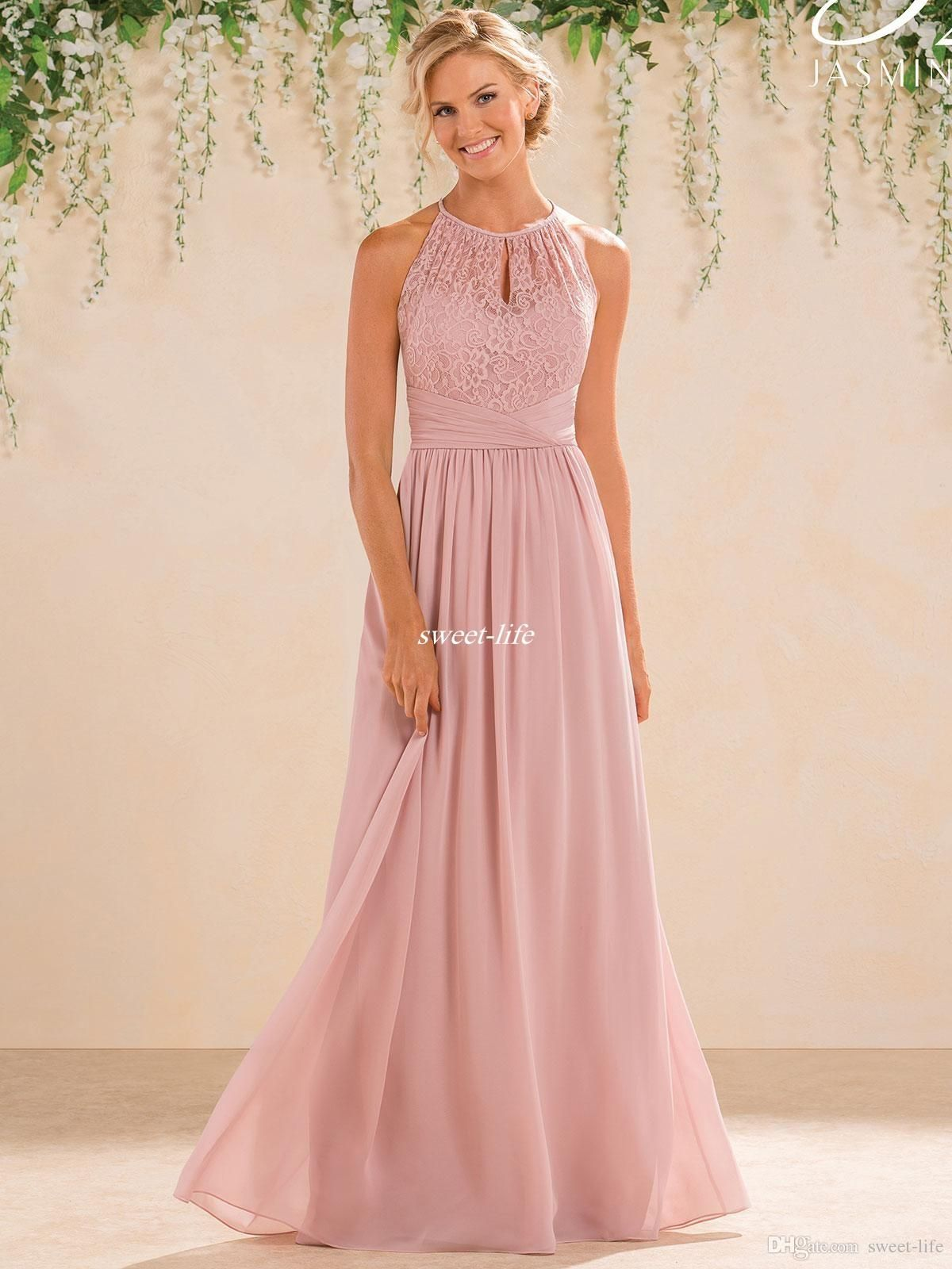 Cheap Blush 2017 Cheap A Line Lace Chiffon Bridesmaid Dresses A Line ...