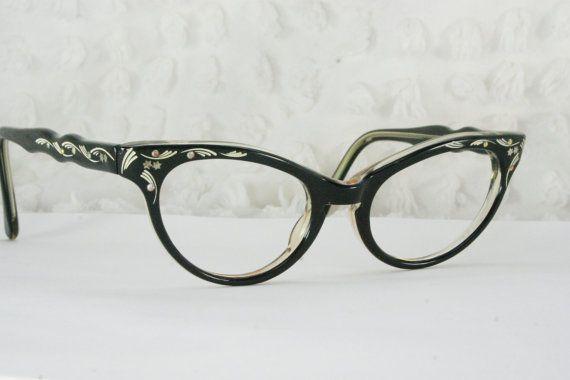 6d729d224772 Vintage 60s Cat Eye Glasses 1950s Womens Glasses Black Rhinestone Cream  Pinstripe Etched 46/20 J Evrard Optical Frame France - #1950s #60s #Black  #Cat ...