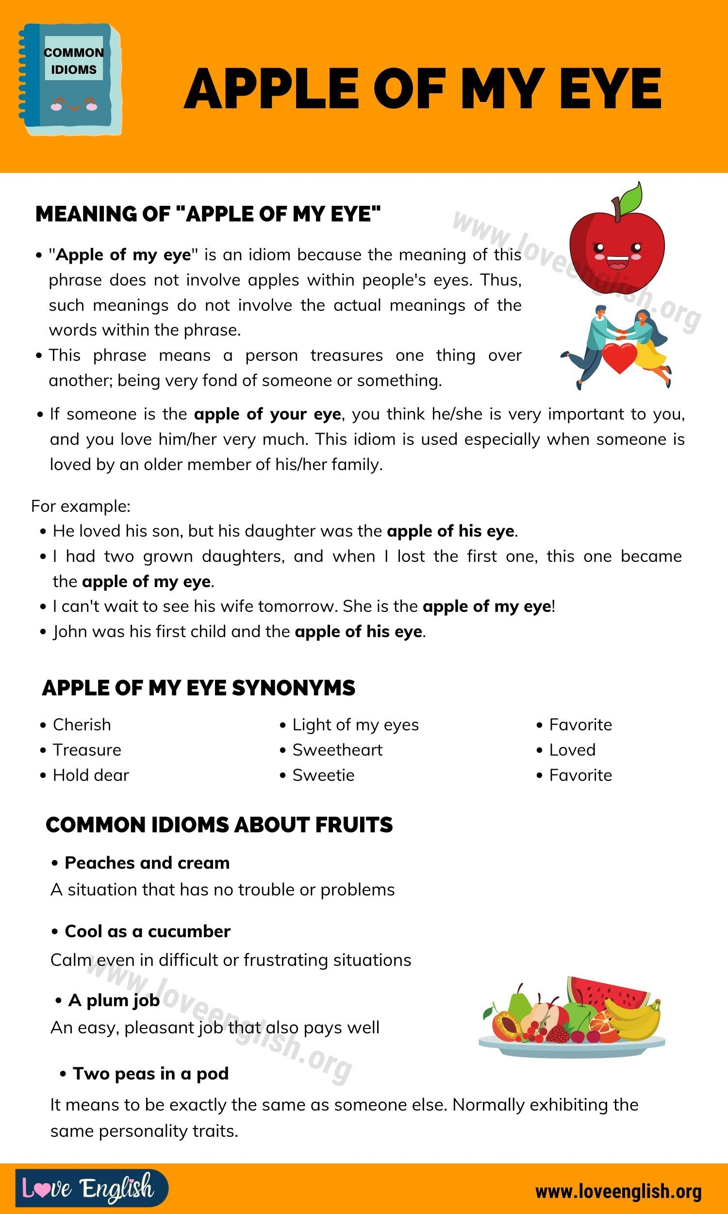 Apple Of My Eye What Is The Meaning Of Apple Of One S Eye Love English Slang Words English Vocabulary Words Idioms