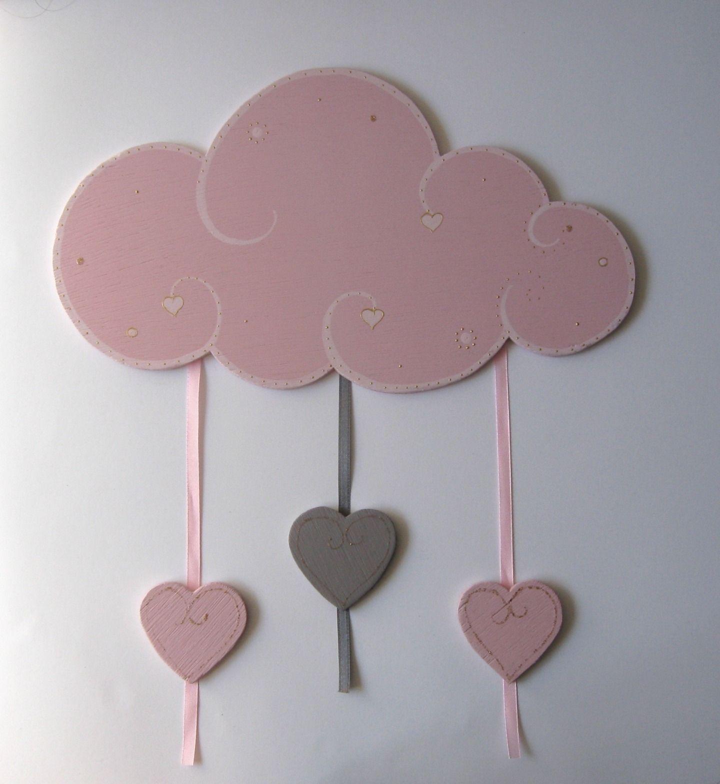 Plaque De Porte Personnalisée Nuage En Bois Rose Avec Coeurs - Plaque de porte en bois