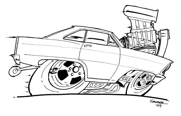 Hot Rod Coloring Book Chevy Nova Colouring Pages page 2 DAP
