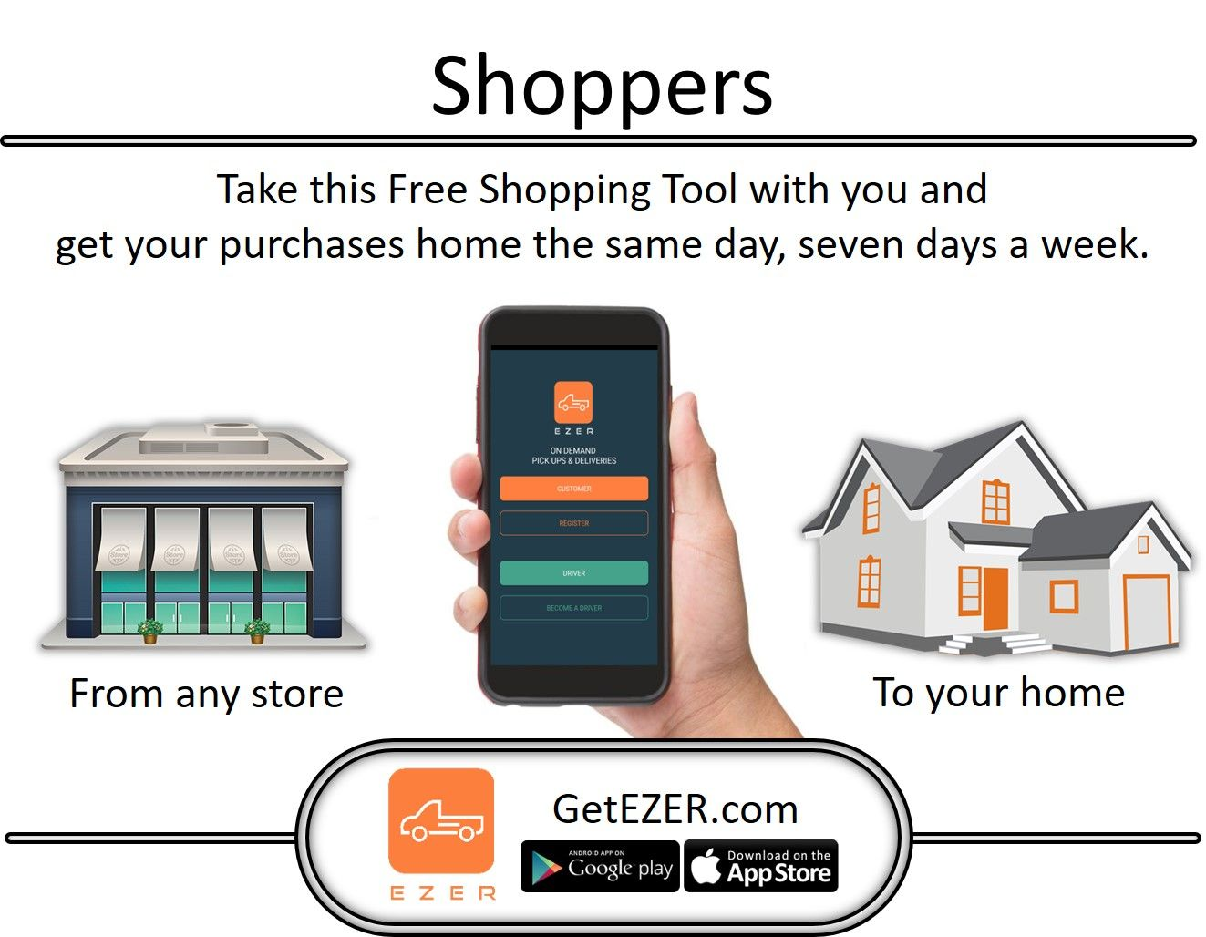 Shoppers – Take the EZER App with you. #SameDay #HomeDelivery #LocalDelivery #Shopping #ShoppingTool #ShoppingApp #SmallCars #LuxuryCars #DeliveryApp #DeliveryJobs #LocalDrivers #LocalJobs #SoCal #LA #IE #OC #Phoenix #Houston #Chicago #Miami #MIN #LasVegas