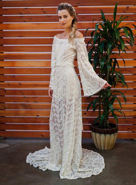 Sydnie Off Shoulder Rustic Bohemian Wedding Dress Boho Bell Sleeves Handmade