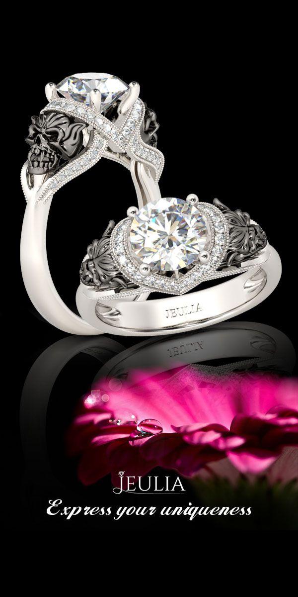 Jeulia Vampire Design Milgrain Twist Two Tone Round Cut Created White Shire Skull Ring