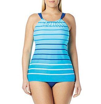 Beach House® Plus Size Hi-Neck Tankini