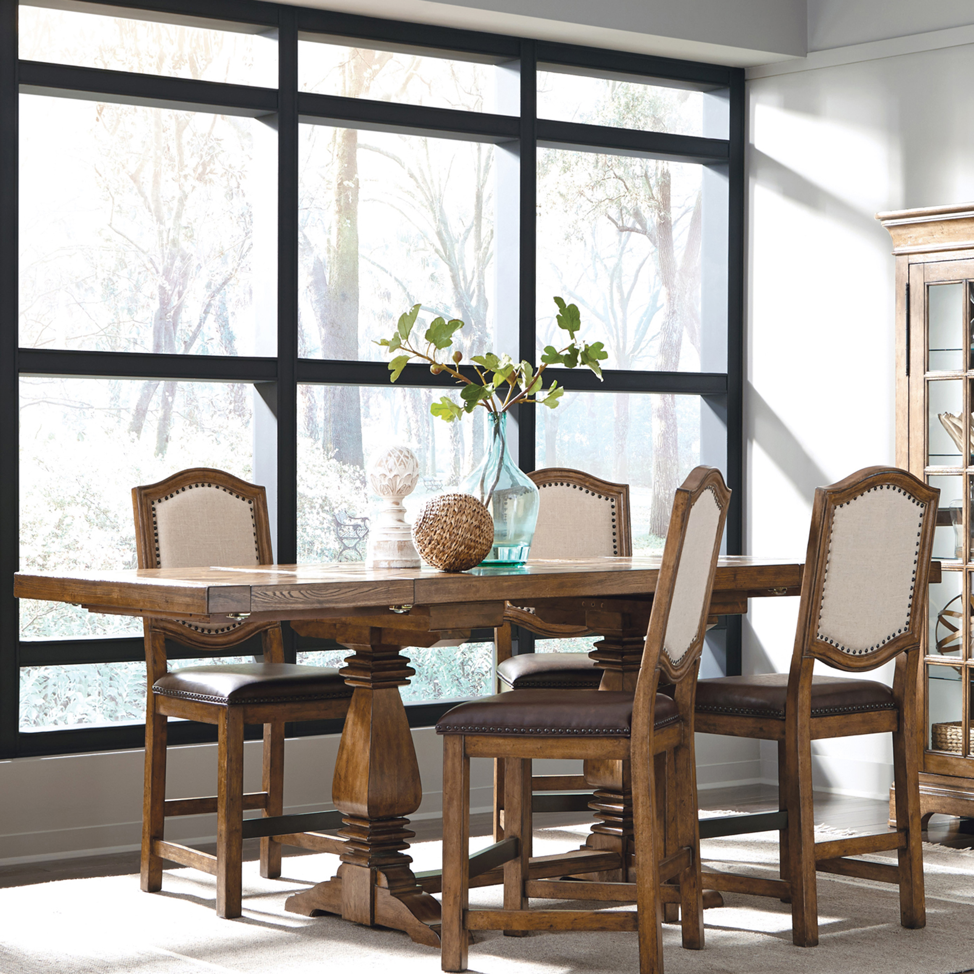 American Attitude Dining Table With Cross Hatch Top In Oak