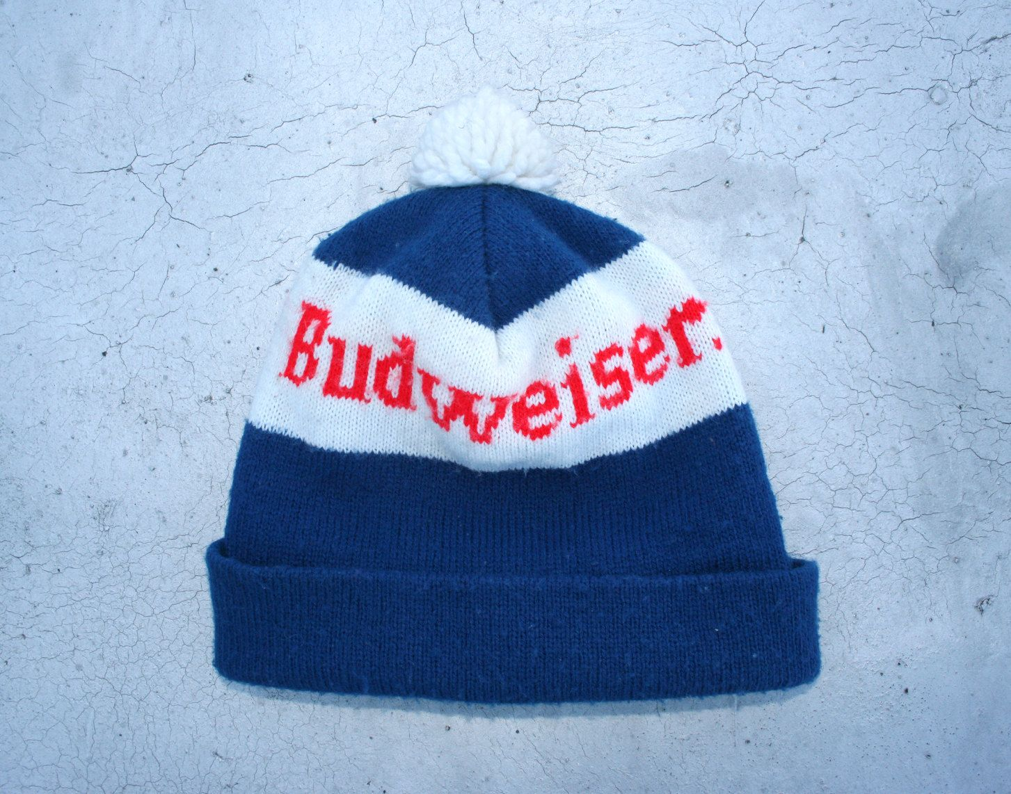Vintage Budweiser Ski Cap Beanie Hat   1980s Novelty Beer Rock And Roll  Party Woven Knit Hat   Holiday Gift Stocking Stuffer   Size S-M 1ba059a7f8f7