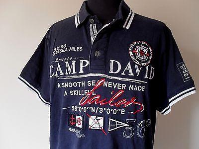 Polo Camp David Shirt Germany Trikot Top Jersey Maillot Mens Tg. L (B92)