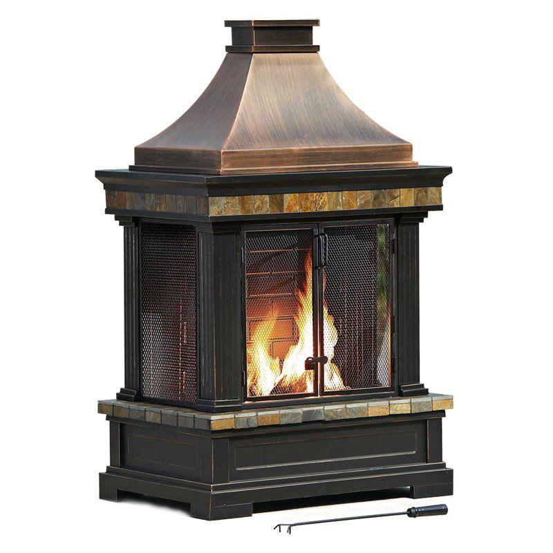 Sunjoy Dixon 56 In Outdoor Fireplace Outdoor Fireplace Patio Gazebo Wood Fire Pit