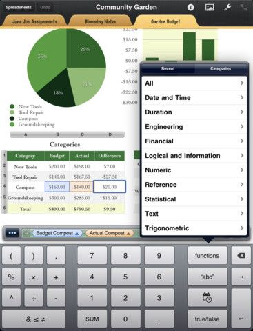 Numbers graphing and Data collection Spreadsheet app