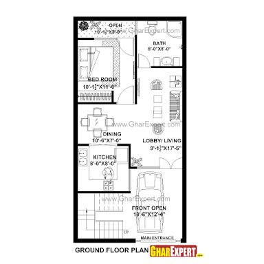 20 X 40 800 Square Feet Floor Plan Google Search 20x40 House Plans 2bhk House Plan House Plans With Pictures