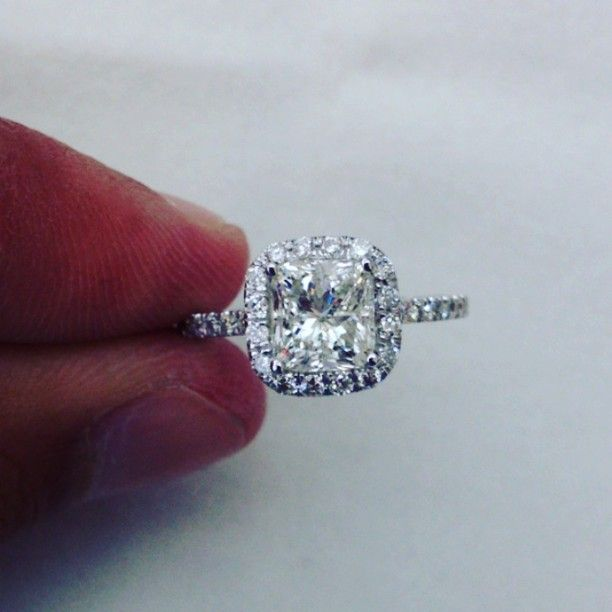 2.25CT cushion cut diamond engagement ring. #Padgram