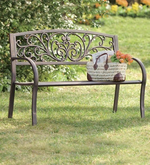 Garten sitzbank metall klassische gartenm bel - Gartenmobel schmiedeeisen ...